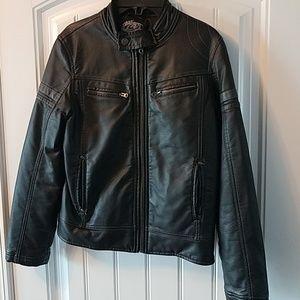 FIRST WAVE boy's black faux leather jacket